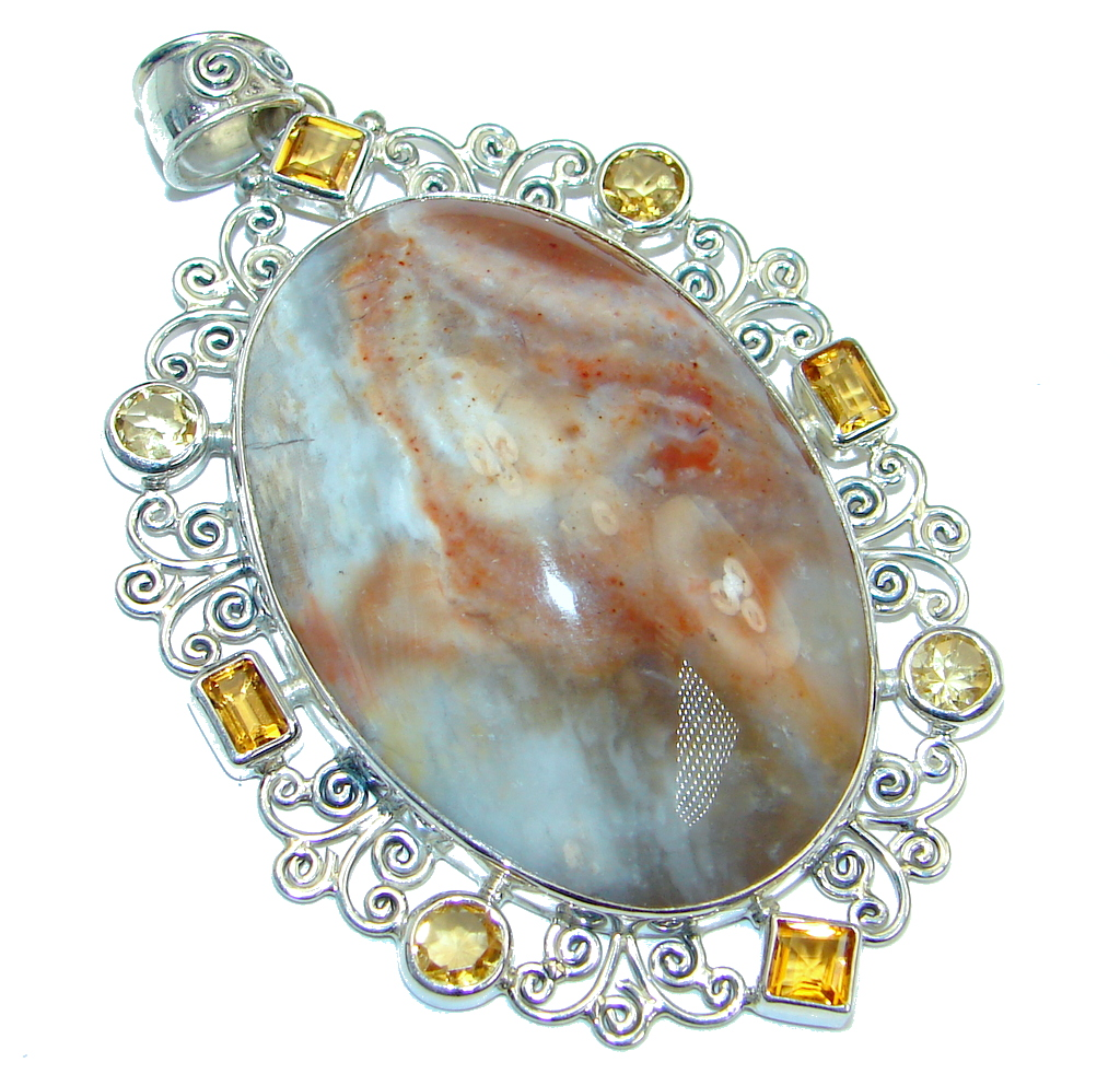 Large Authentic Orange Pulme Agate Sterling Silver handmade Pendant