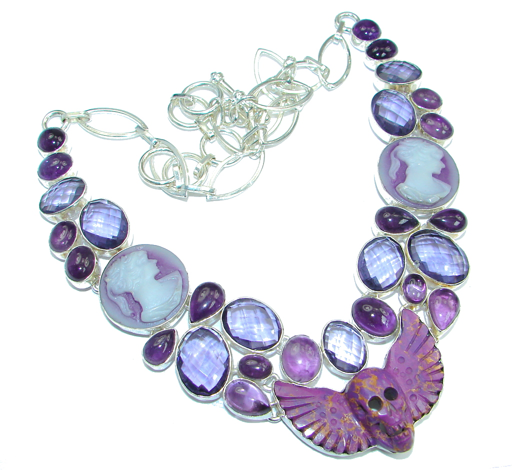 Unusal Style Copper Turquoise Purple Quartz Sterling Silver handmade necklace