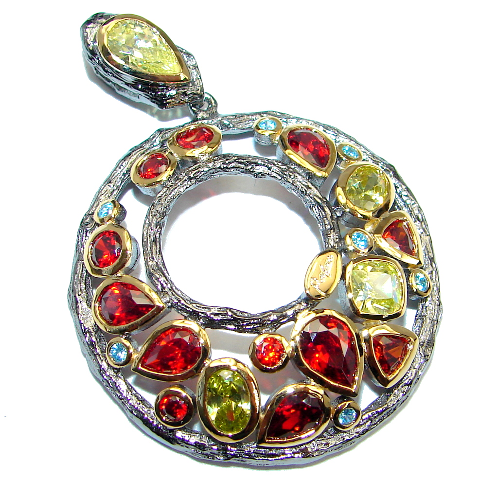 Pure Joy Red Garnet Peridot Topaz Gold plated over Sterling Silver Pendant