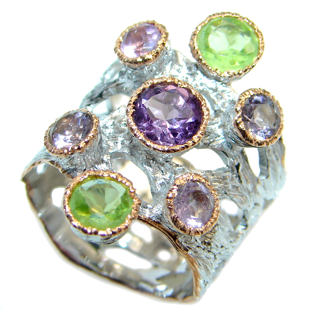 Amethyst & Peridot Two Tones Sterling Silver handmade ring s. 7 1/2