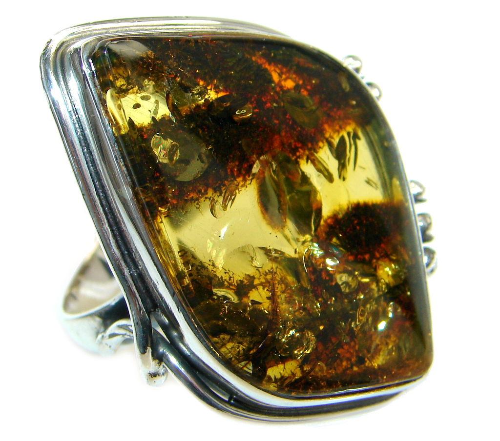 Chunky Genuine Baltic Polish Amber Sterling Silver handmade Ring size 9 1/2