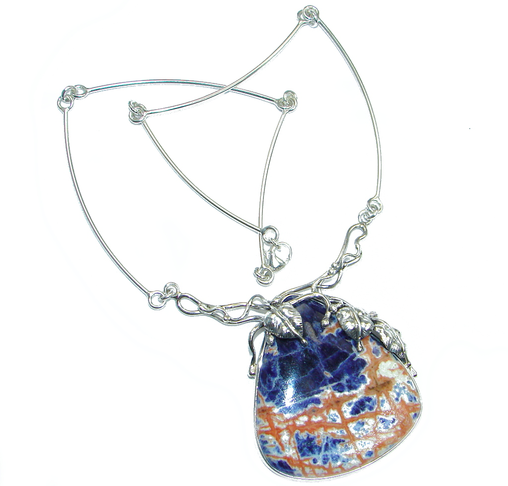 Incredible Fabulous Sodalite Sterling Silver handmade necklace