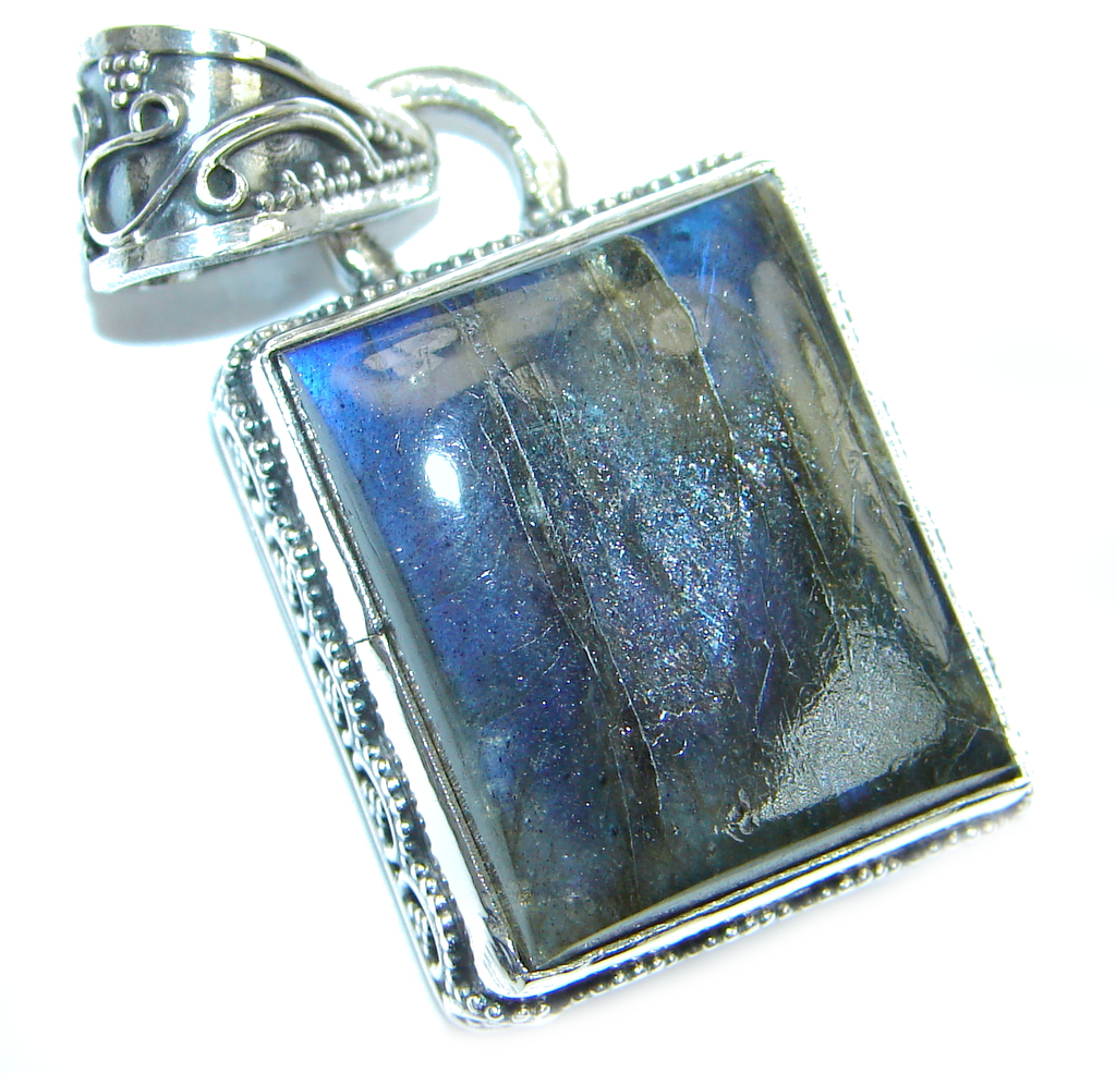 Fancy Design genuine Fire Labradorite Sterling Silver handmade Pendant