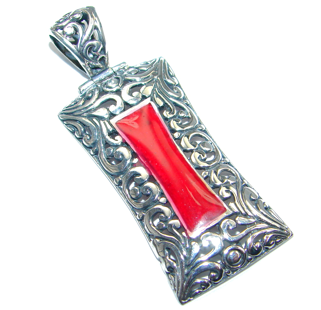 Red Fossilized Coral handmade  Sterling Silver pendant