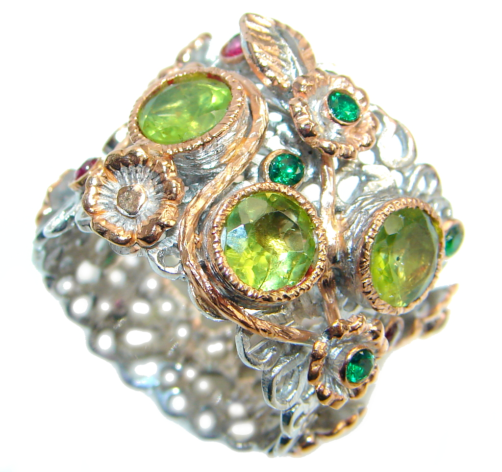 Sublime Style Peridot Emerald Ruby Rose Gold plated over Sterling Silver ring; size 7 3/4