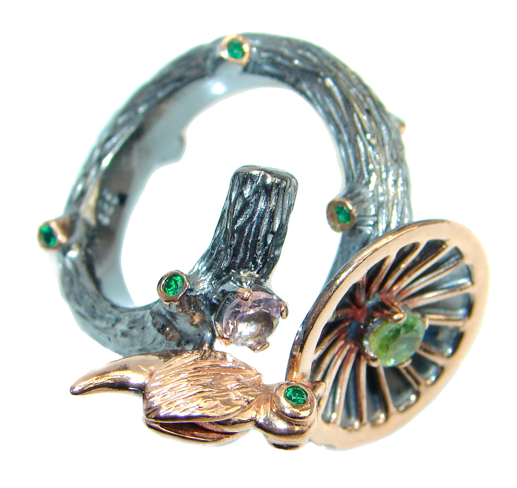 Golden Bird  Genuine Peridot  Rose Gold plated over  Sterling Silver ring si..