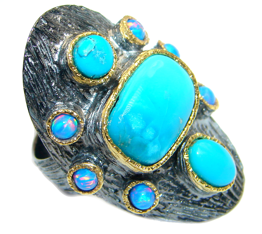 Excellent Sleeping Beauty Turquoise Sterling Silver handmade ring size 7