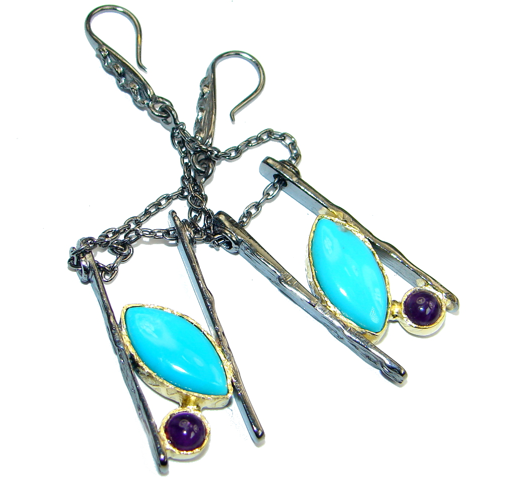 Genuine Sleeping Beauty Turquoise gold plated over Sterling Silver handcraft..