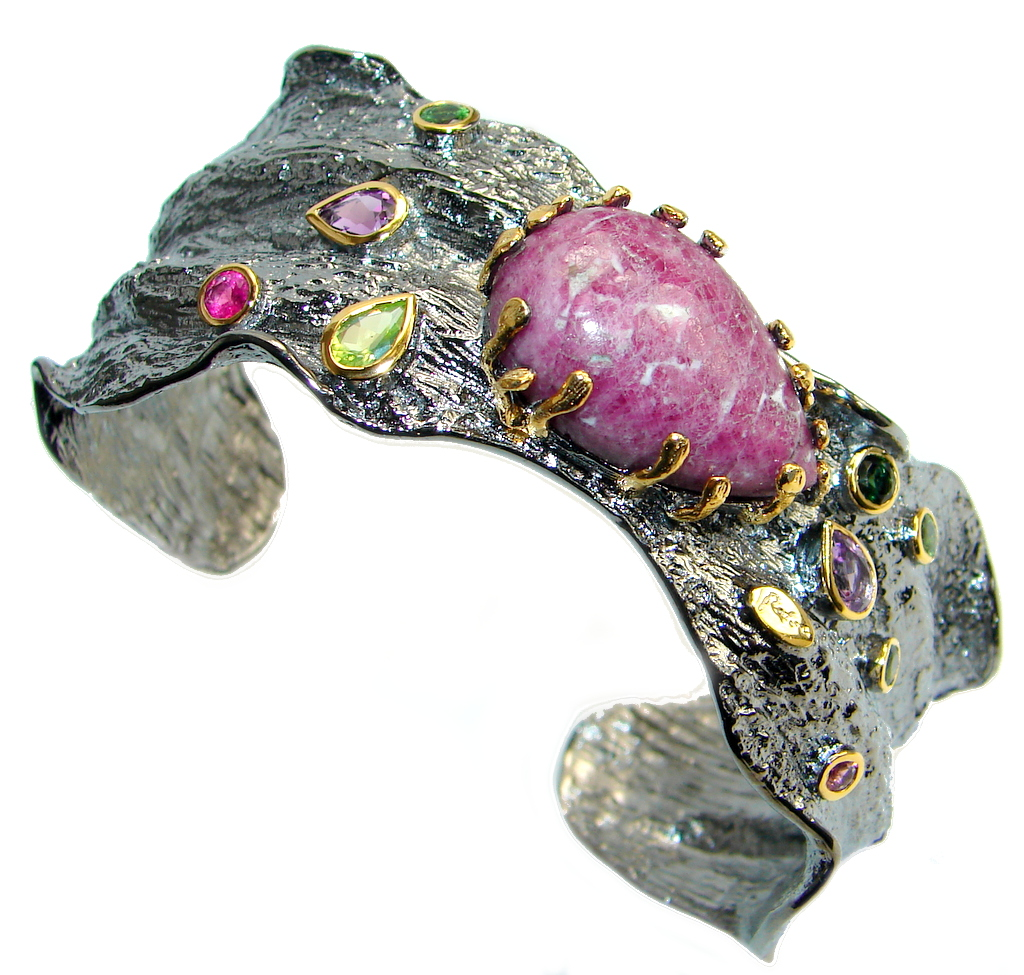 One of the kind GENUINE Eudialyte Oxidized Gold plated over Sterling Silver ..