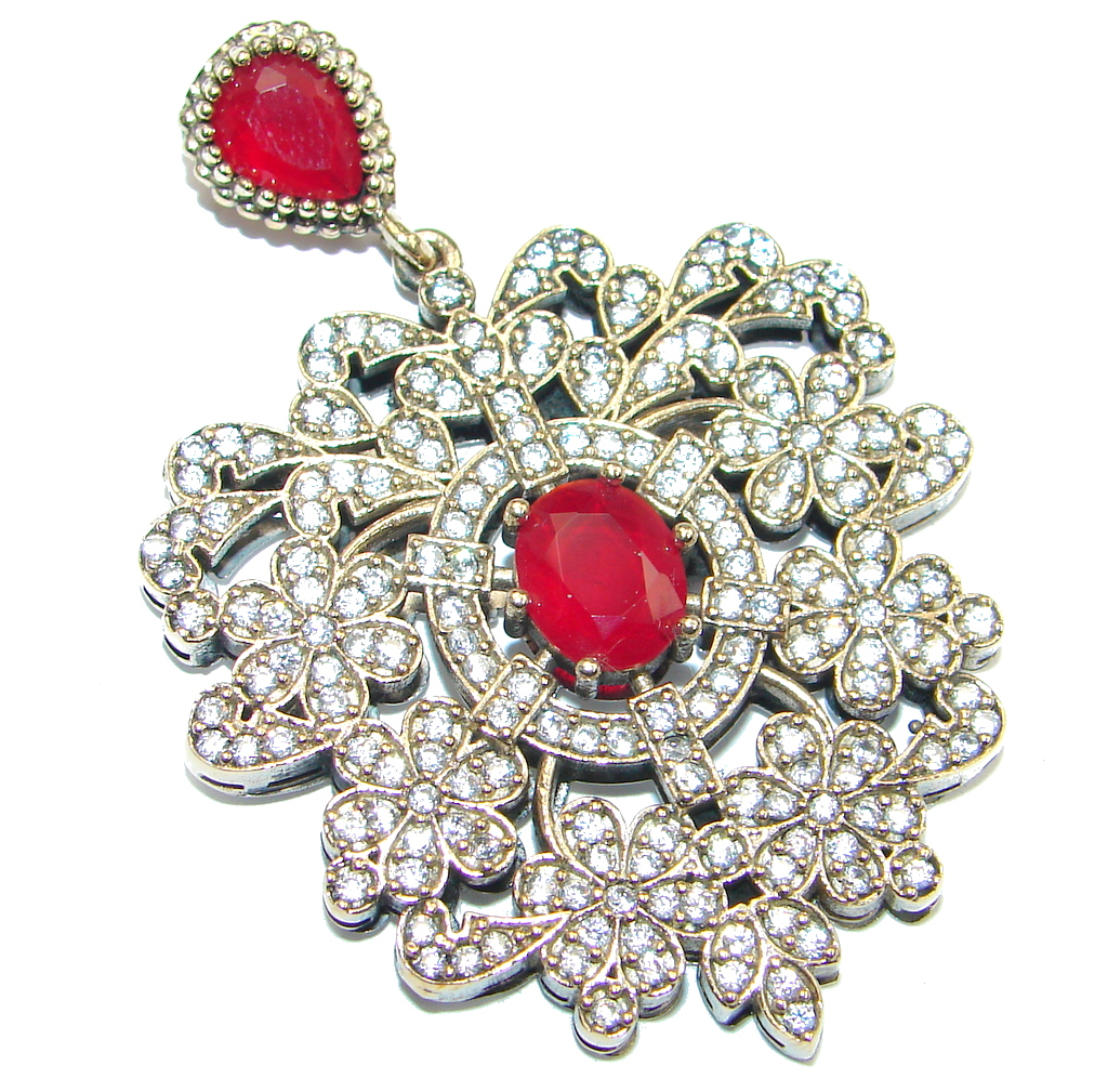 Victorian Style created Ruby Spinel Two tones Sterling Silver Pendant