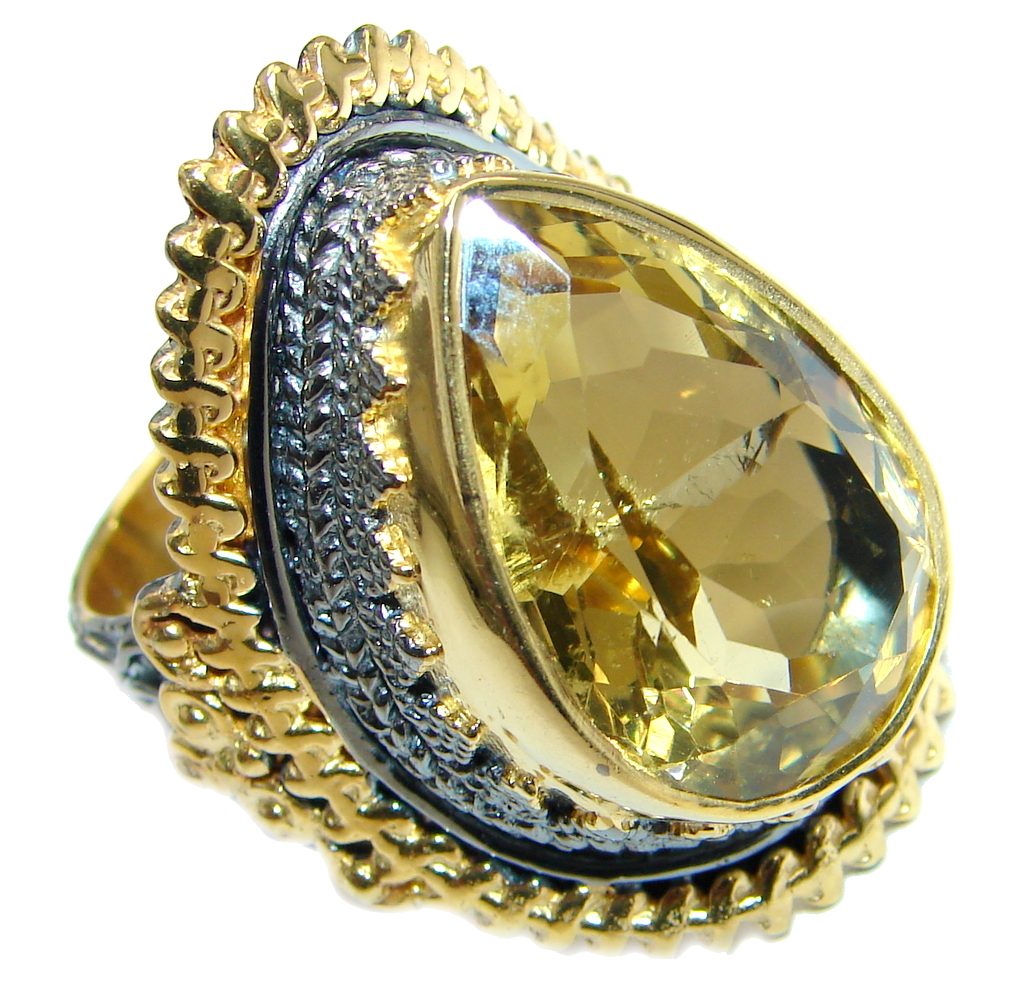 Natural Citrine Rhodium Gold plated over Sterling Silver handmade ring size adjustable
