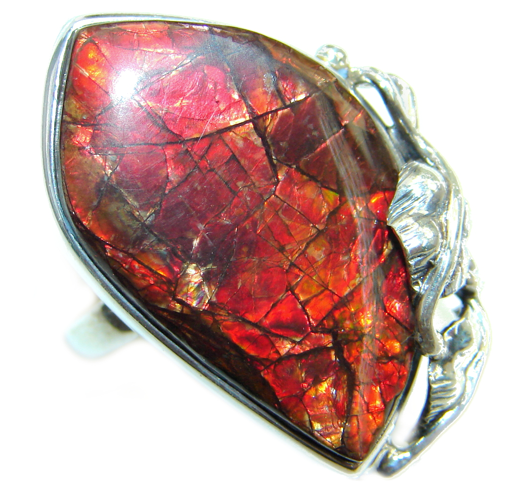 Authentic Canadian Red Fire Ammolite Sterling Silver ring size adjustable