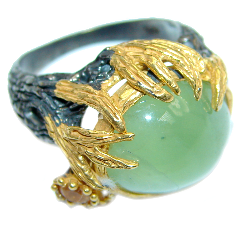 Jumbo Natural Prehnite Yellow Sapphire Gold plated over 925 Sterling Silver Ring Size 8