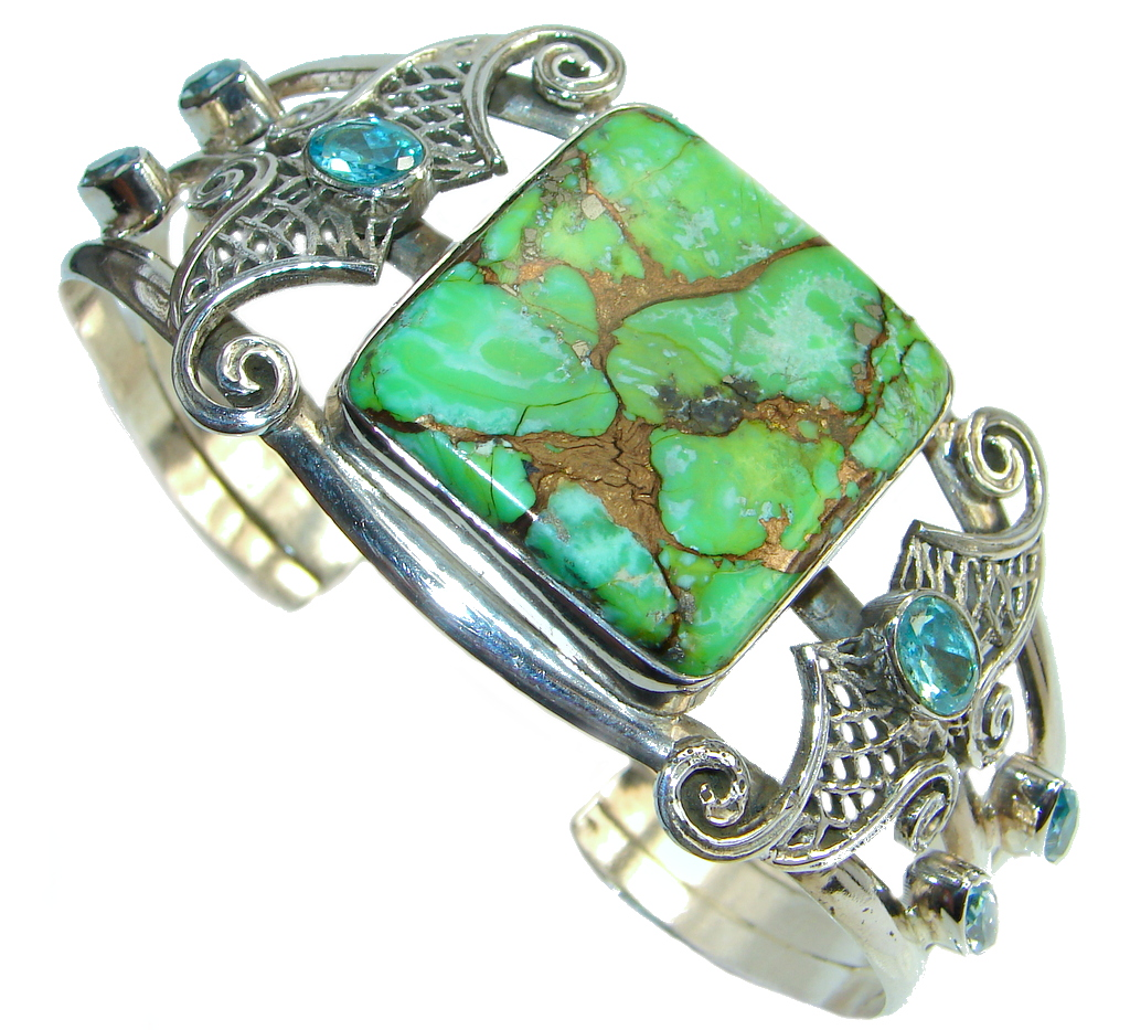 Large Handcrafted Green Turquoise Sterling Silver handmade Bracelet / Cuff