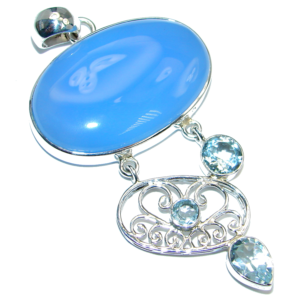 Blue Aura Chalcedony Agate Swiss Blue Topaz Sterling Silver handmade Pendant