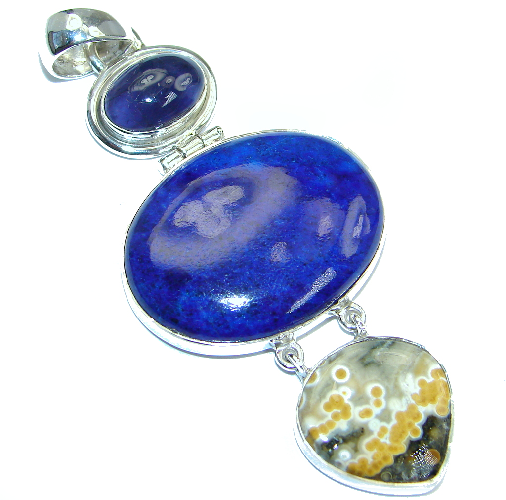 Perfect Combination Blue Lapis Lazuli Tanzanite Ocean Jasper Sterling Silver handmade Pendant