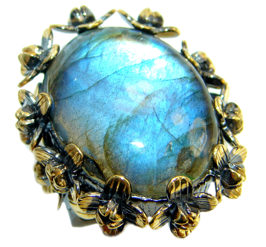 Huge Beautiful Fire Labradorite Gold plated over Sterling Silver Ring size 7