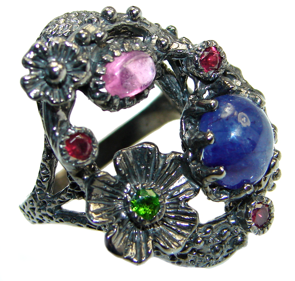 Fine Art natural Sapphire Ruby Emerald Rhodium Plated over Sterling Silver Ring s. 7 1/2