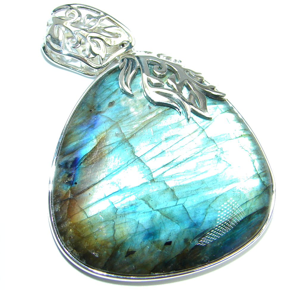 Huge 26.8 grams highest quality Blue Labradorite Sterling Silver handmade Pendant