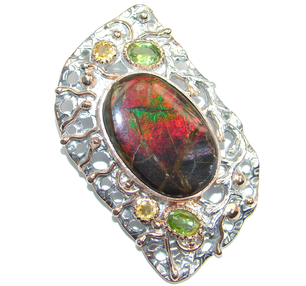 Huge of the kind genuine Ammolite Rose Gold plated over Sterling Silver hand..