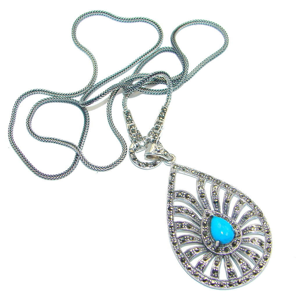 Gorgeous Natural Blue Turquoise Marcasite 925 Sterling Silver 24 inch Necklace