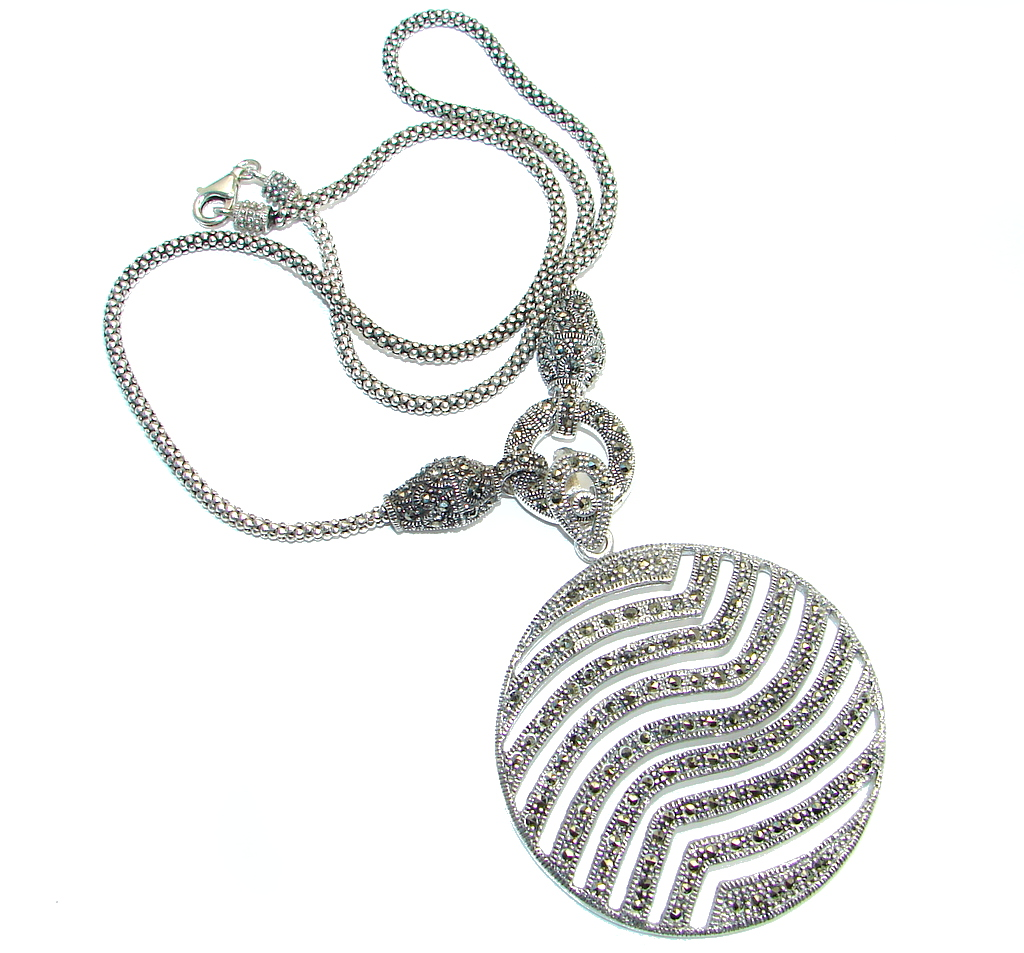 marcassite.com the marcasite jewelry place    Gorgeous Natural Top Champagne Marcasite 925 Sterling Silver Necklace 18 Inches
