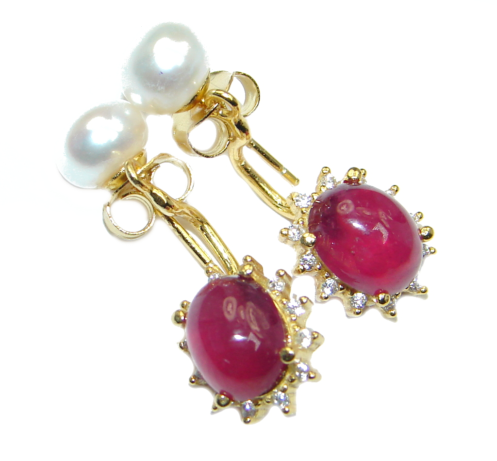 Gracefully crafted Top Rich Red Ruby Pearl Sterling Silver stud Earrings