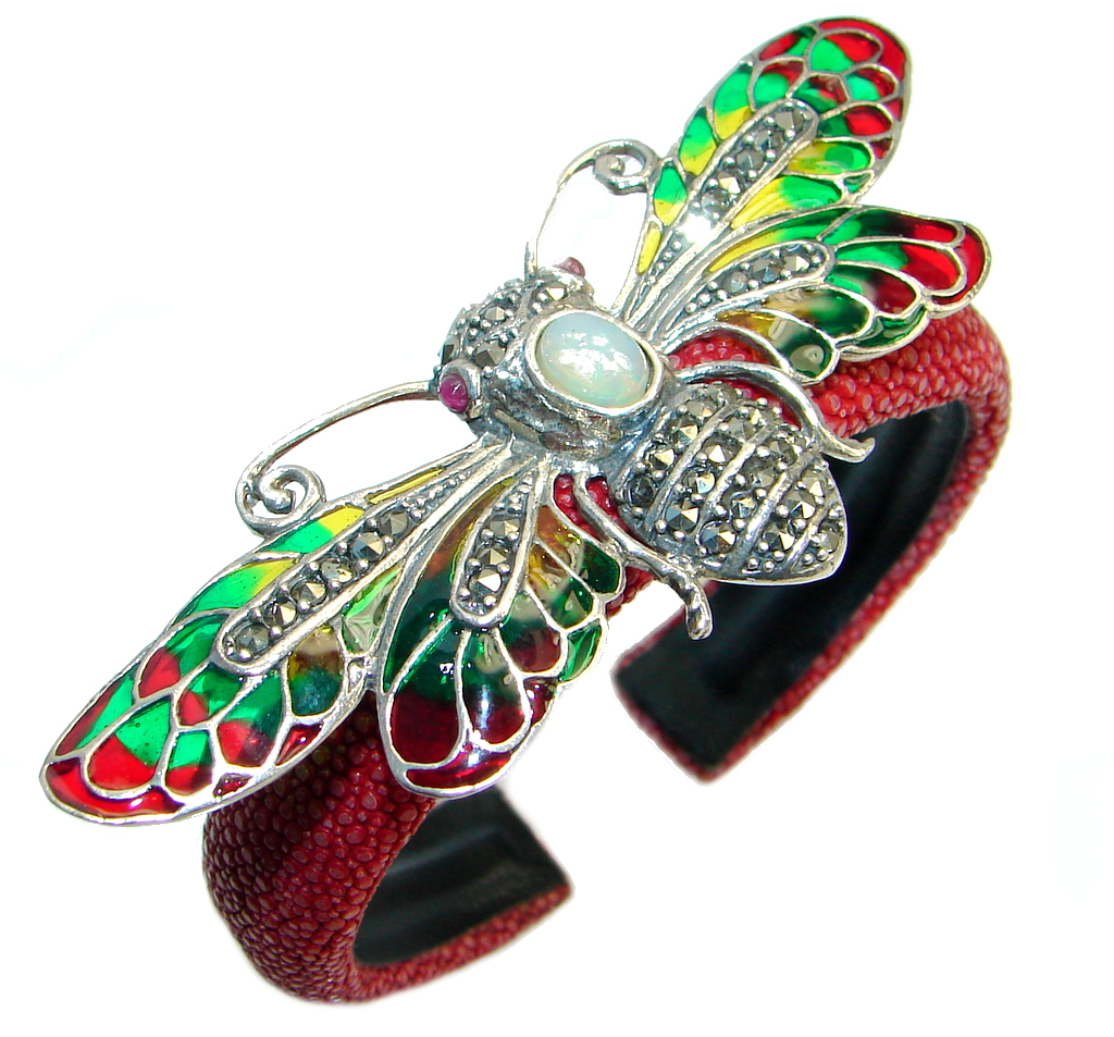 Fabulous Natural Fire Opal Marcasite Ruby 925 Silver Stingray Leather Bee Cuff
