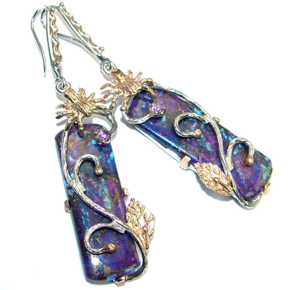 Perfect Purple Turquoise Amethyst Gold plated over Sterling Silver earrings