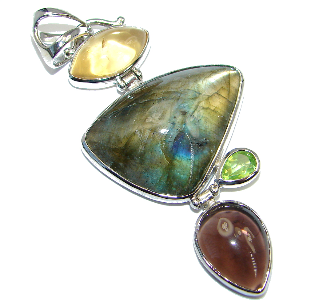 Perfect Northern Lights Labradorite Citrine Sterling Silver handmade Pendant