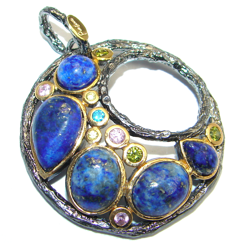 Excellent quality Blue Lapis Lazuli Gold plated over Sterling Silver Pendant