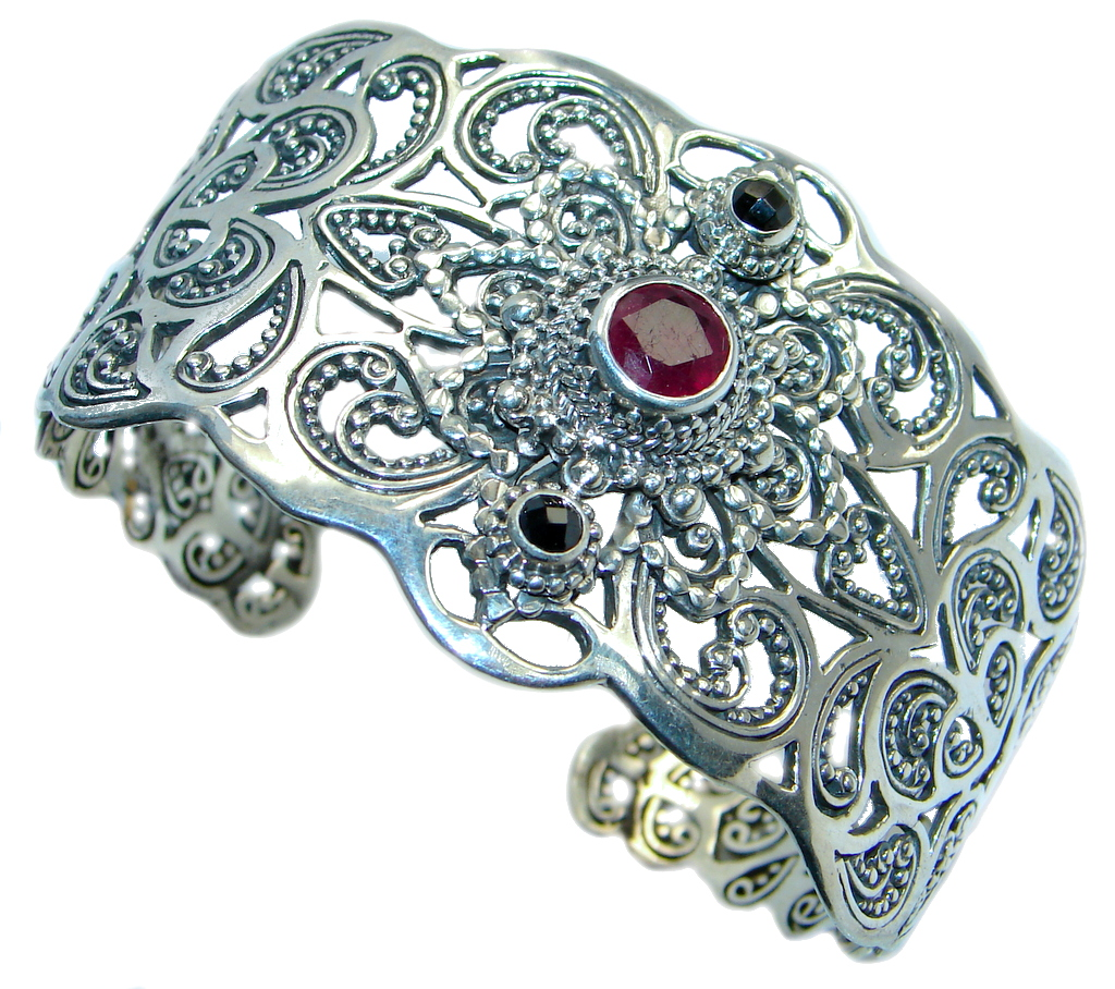 Huge Luxury Genuine Ruby Black Spinel Sterling Silver handmade Cuff/Bracelet