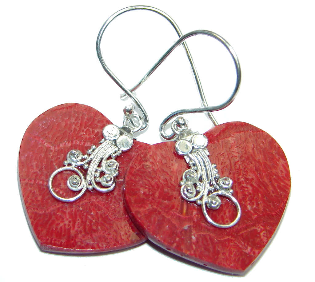 Chunky Red Fossilized Coral Sterling Silver handmade earrings