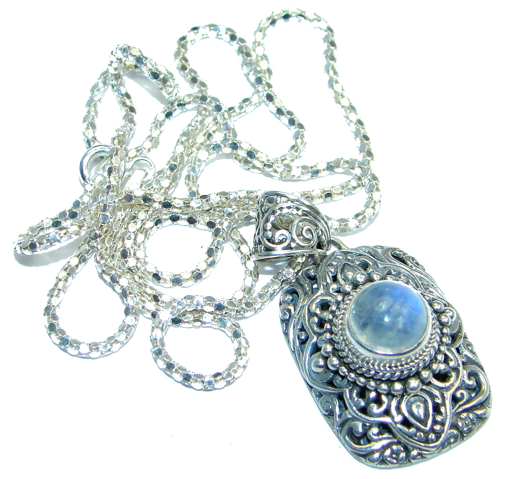 Rich Classy Design White Fire Moonstone Sterling Silver handcrafted necklace