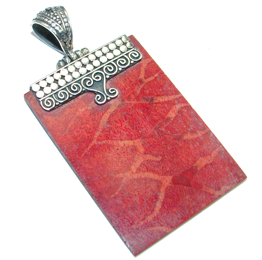 Lovely Red Fossilized Coral Sterling Silver pendant