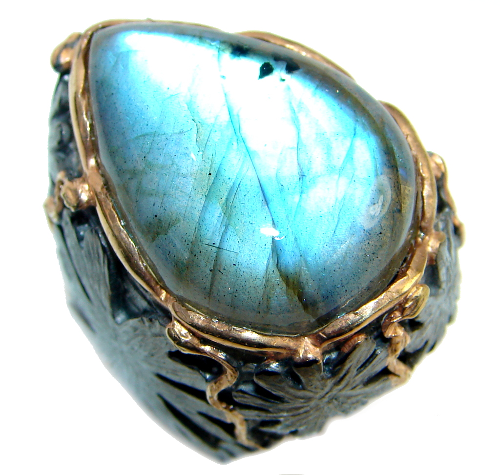 Huge Beautiful Fire Labradorite Rhodium Gold plated over Sterling Silver Ring size 7