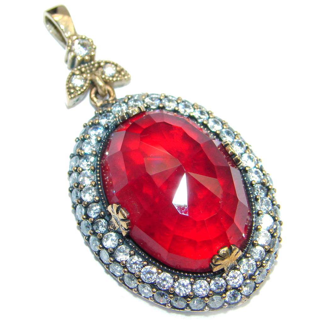 Amazing created red Ruby Sterling Silver Pendant