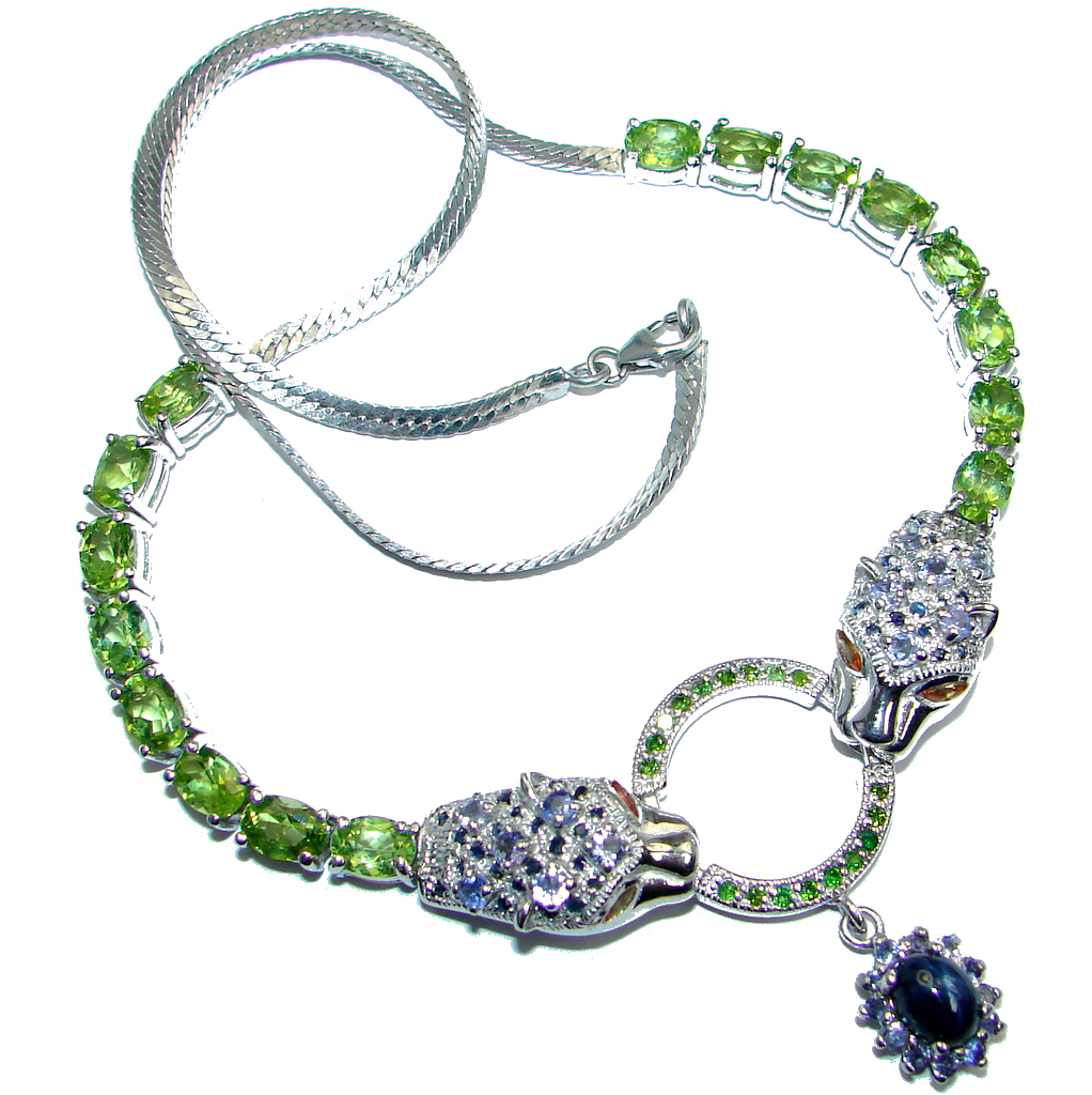 Breathtaking Star Blue Sapphire Diffusion & Gems 925 Silver Two Tigers Necklace