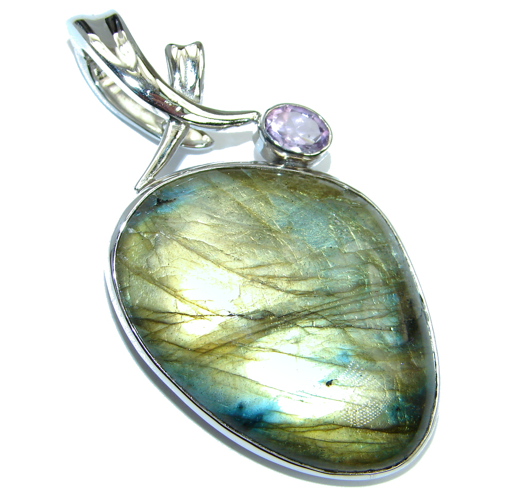 Perfect Northern Lights Labradorite Sterling Silver handmade Pendant Enhancer