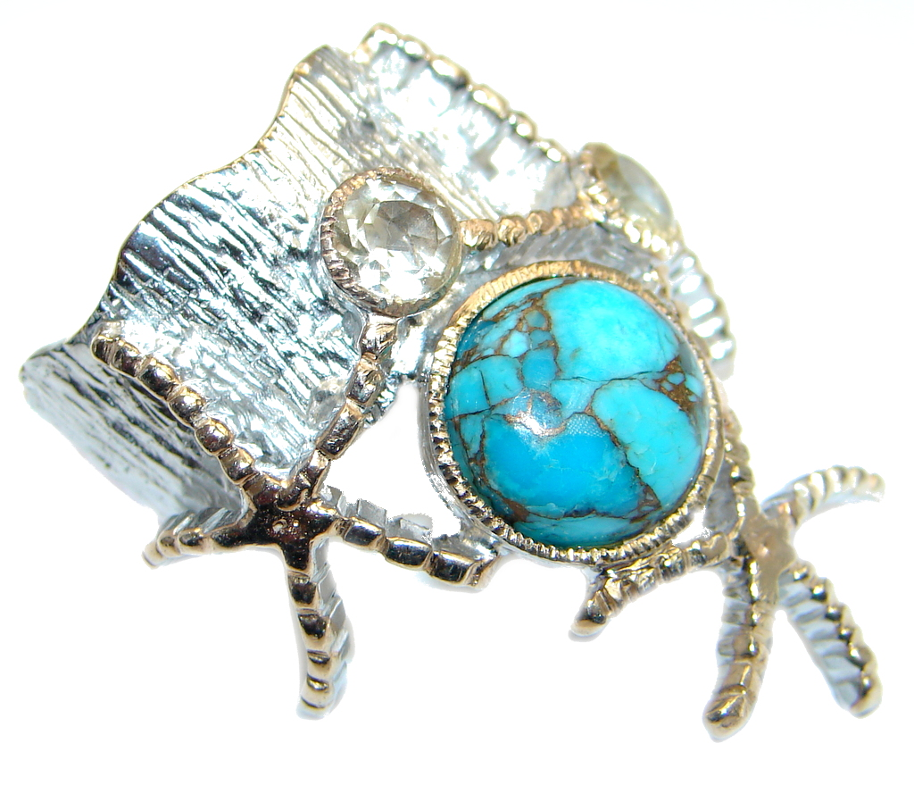 Blue Reef genuine Turquoise Gold plated over Sterling Silver handmade ring size 7