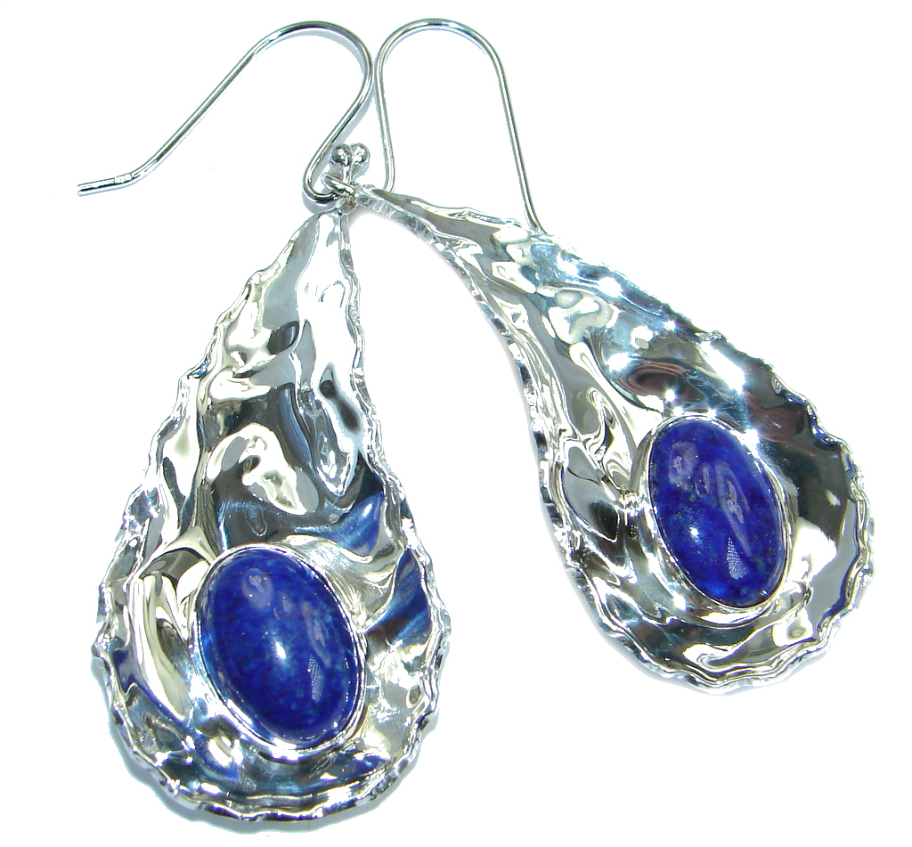 Perfect Blue Lapis Lazuli hammered Sterling Silver handmade earrings