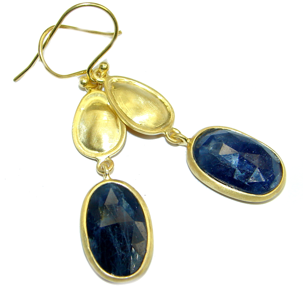 Flawless Sapphire Gold plated over Sterling Silver entirely handmade earrings