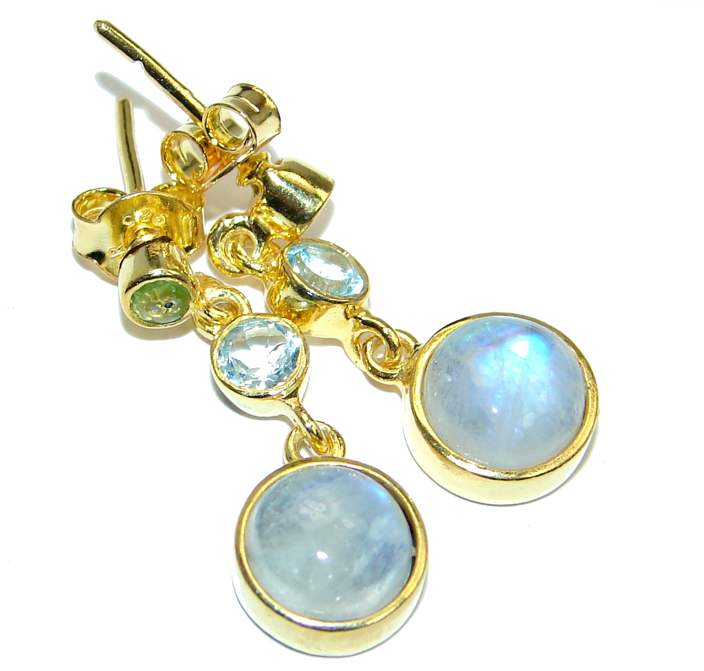 Stylish Fire Moonstone Peridot, Topaz Gold plated over Sterling Silver stud earrings