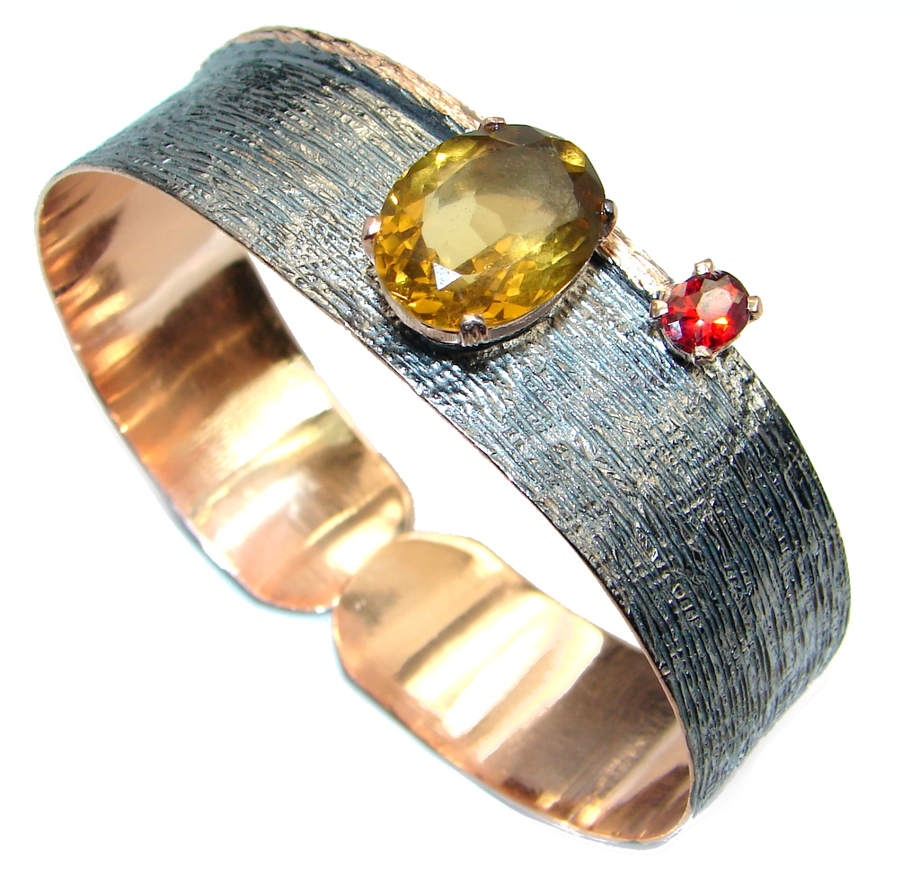 Always Together Genuine Citrine Gold plated over Sterling Silver handmade Bracelet