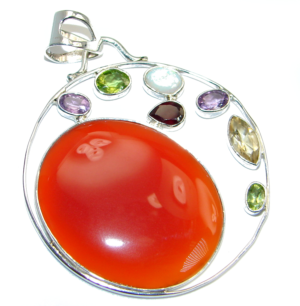 Large Beautiful authentic Carnelian  Sterling Silver handmade Pendant
