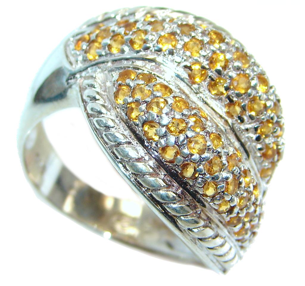 Posh natural Orange Sapphire Sterling Silver ring s. 7