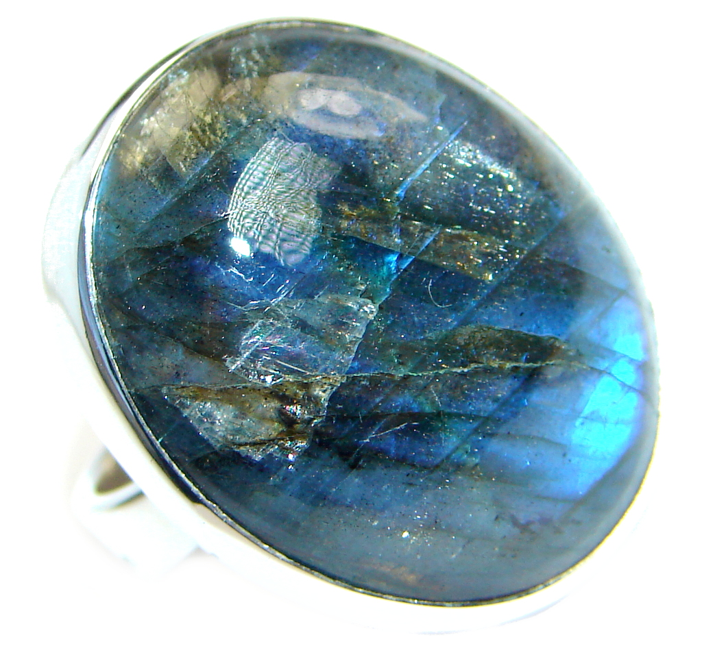 Big Blue Fire Labradorite Sterling Silver handmade ring size 6