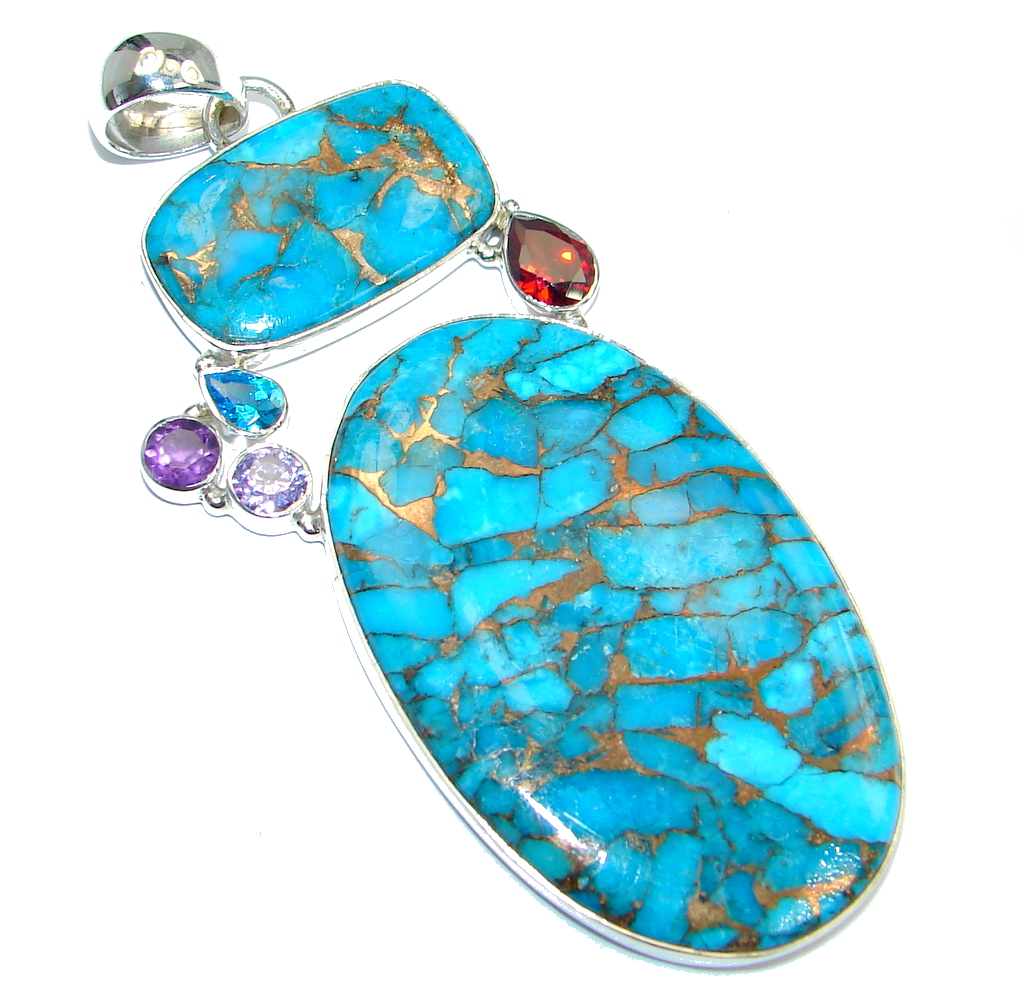 Blue Copper vains Turquoise Sterling Silver handmade Pendant