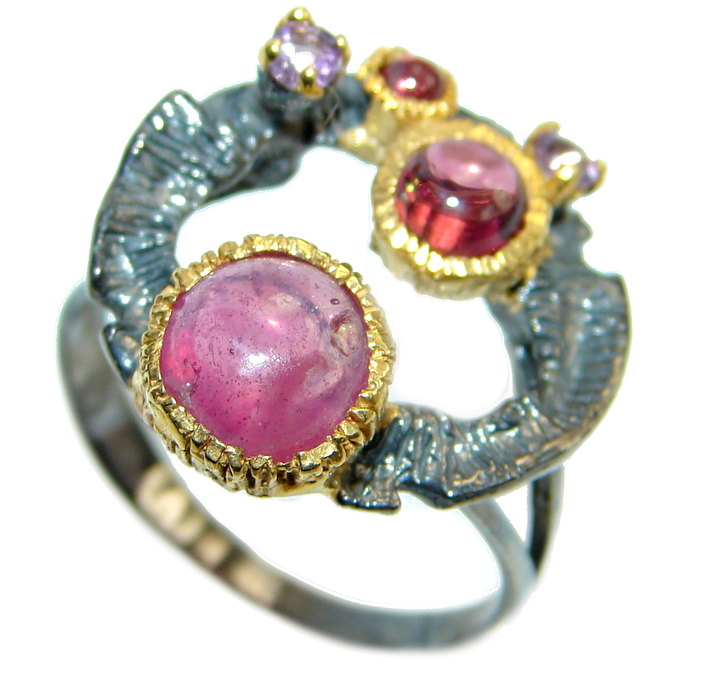 Unique design  genuine  Ruby  Gold plated over Sterling Silver ring; s. 9 1/4