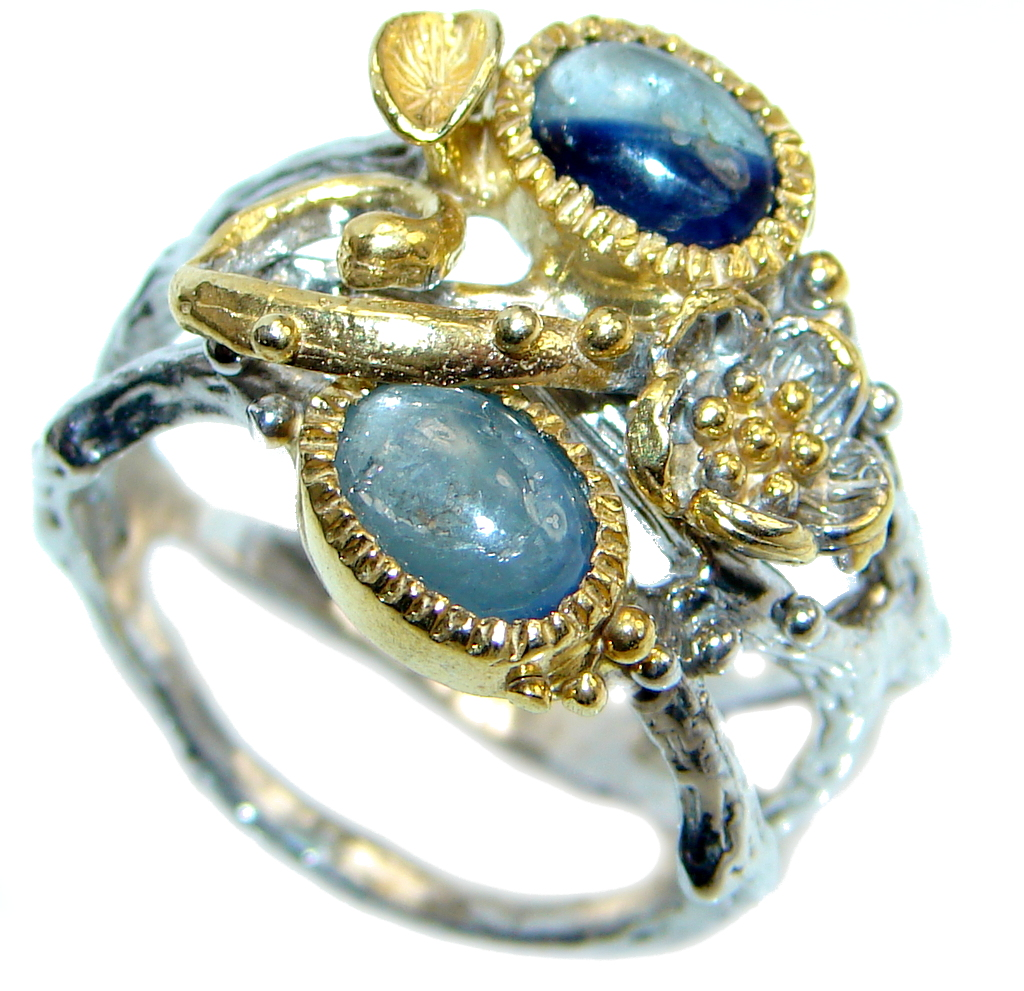 Amazing natural Sapphire Gold Plated Sterling Silver Ring s. 8 1/4